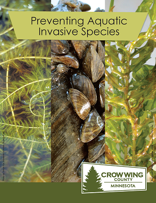 Brochure cover for preventing aquatic invasive species showing varies types of invasive species Opens in new window