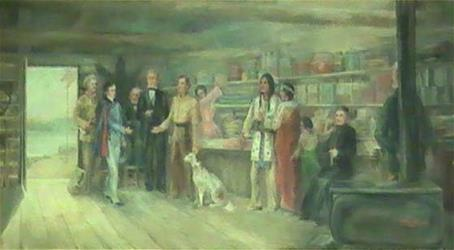 Jean (Joseph) N. Nicollet visiting trading post at mouth of Crow Wing River in 1836
